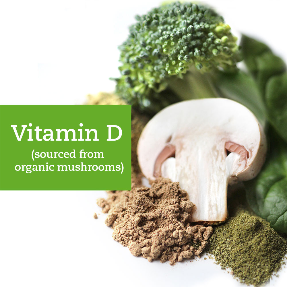 2,000 IUs of essential vitamin D, sourced from organic mushrooms so it's the next best thing to sunshine.