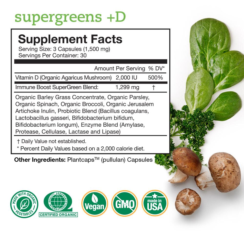 Supergreens +D Supplement Facts Panel