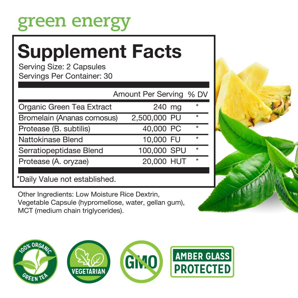 Green Energy Supplement Facts Panel