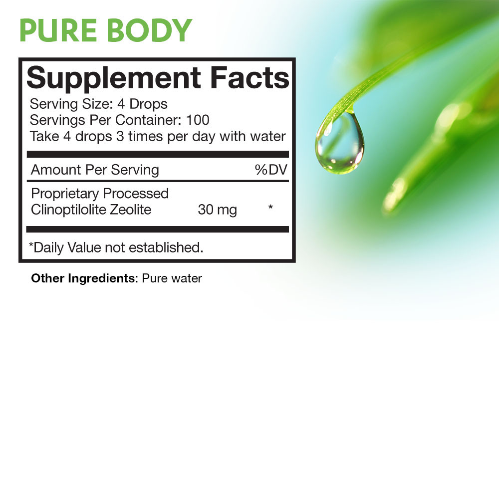 Pure Body Zeolite Supplement Facts Panel