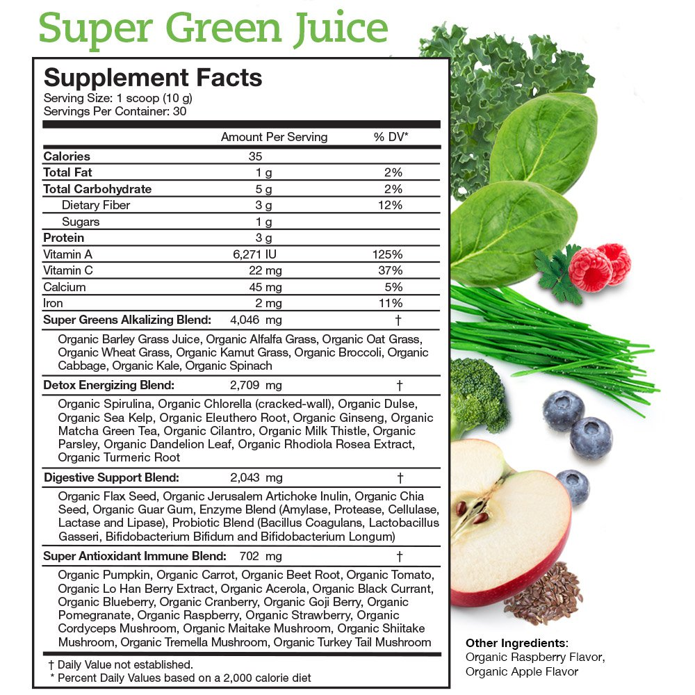 Super Green Juice Supplement Facts Panel