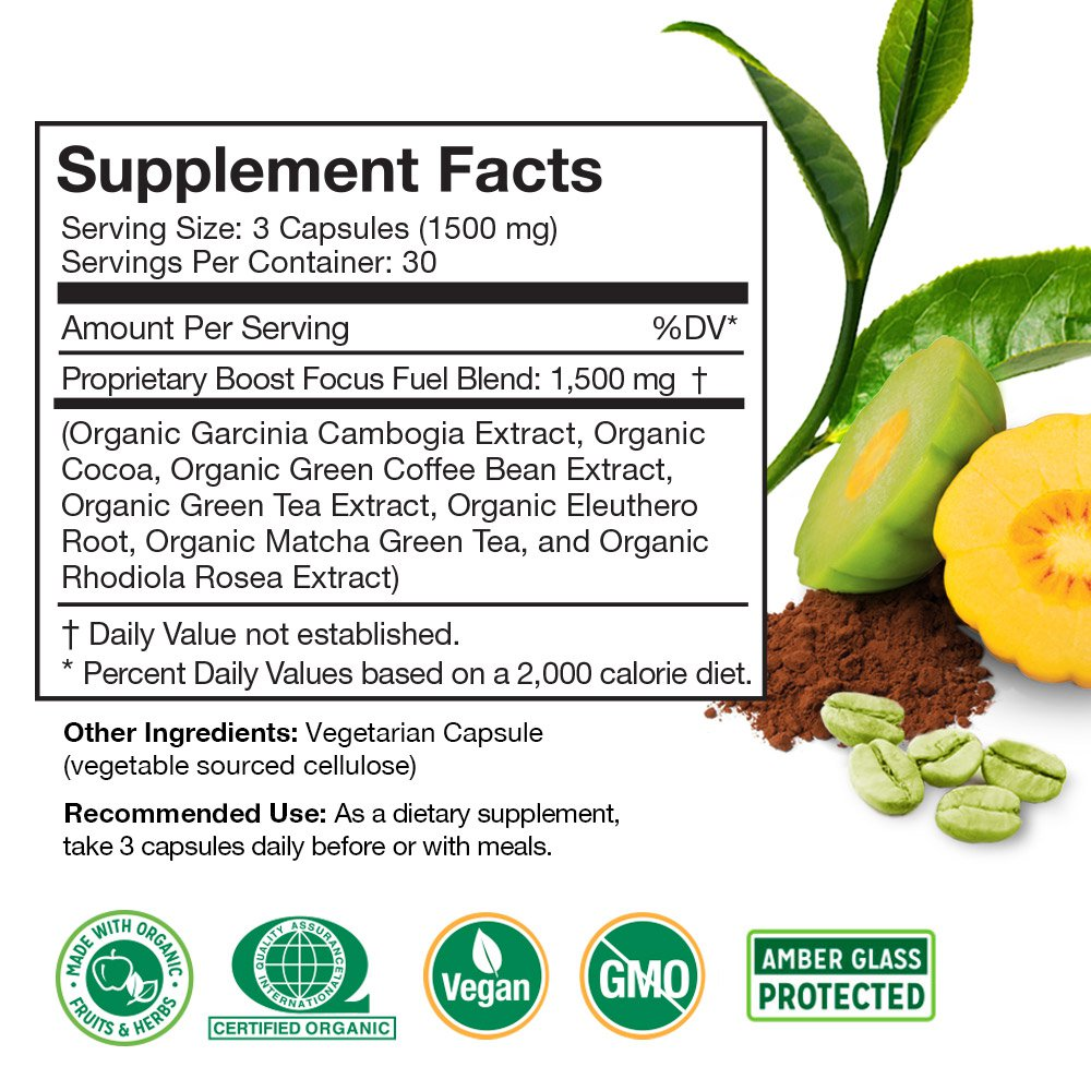 Boost Focus Fuel Supplement Facts Panel