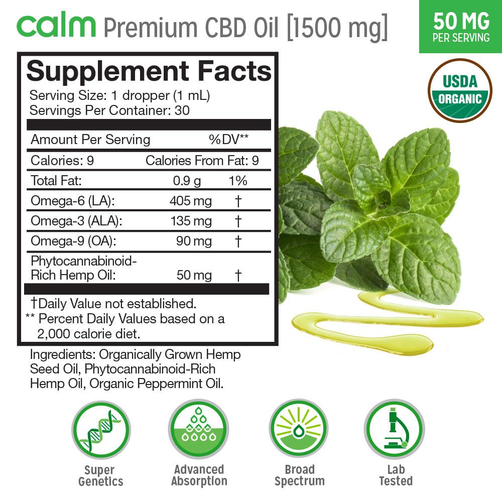 Calm Premium CBD Oil 1500mg Supplement Facts