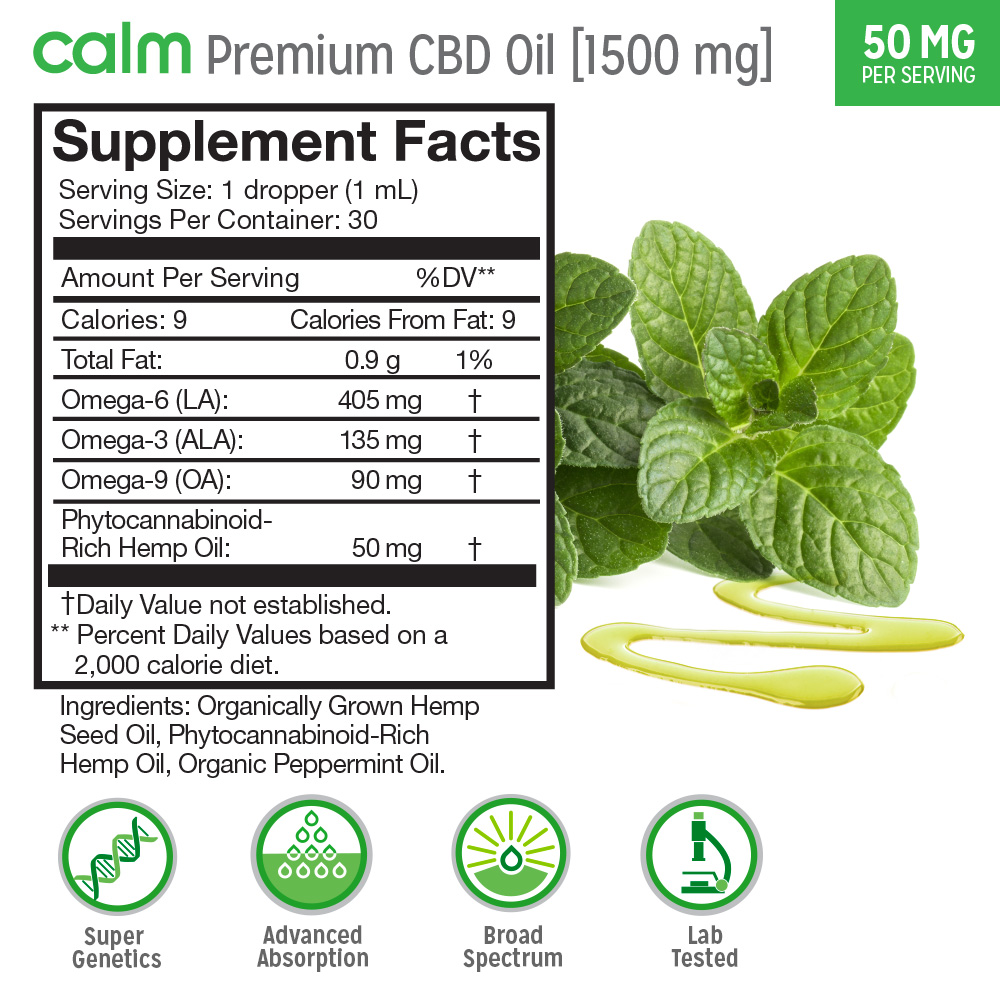 Calm Premium Hemp Oil 1500mg Supplement Facts