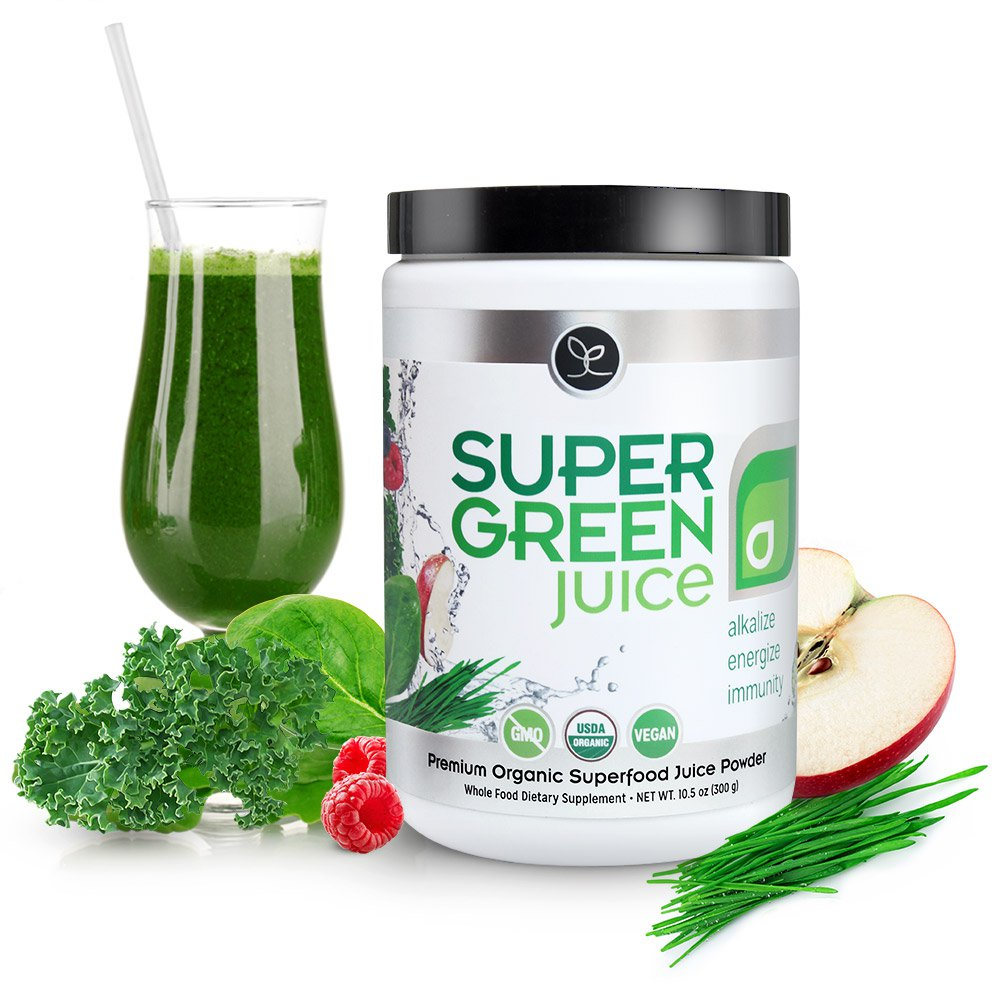 Super Green Juice gives your body 44 organic superfoods to alkalize, detox, energize and strengthen immunity.