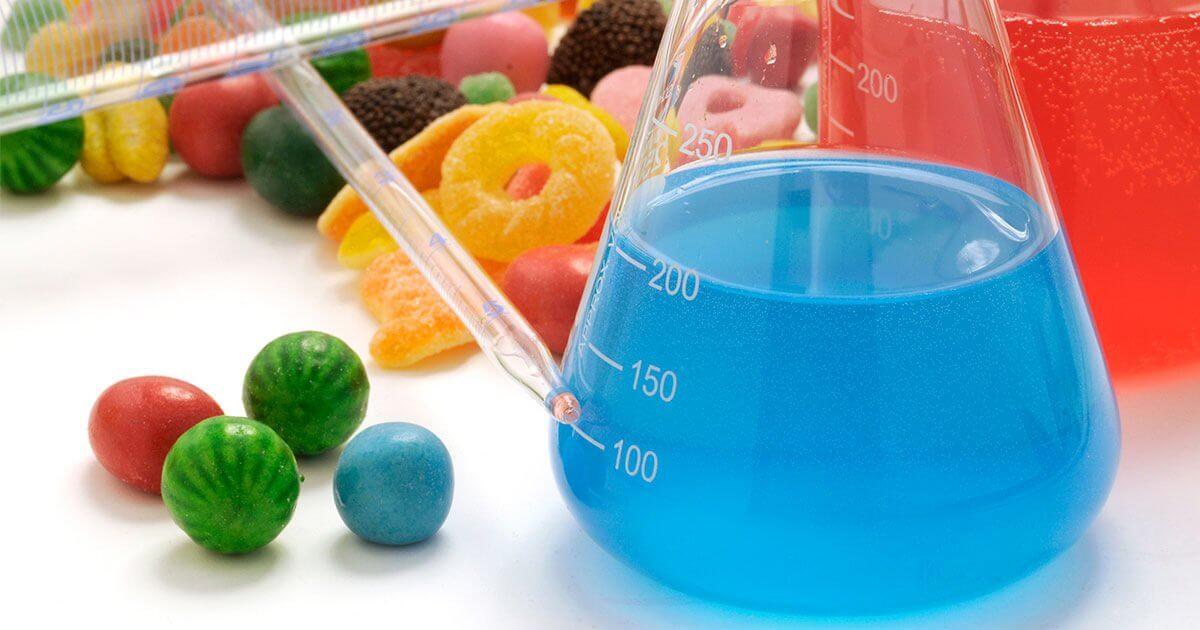 Dangerous food dye in a beaker