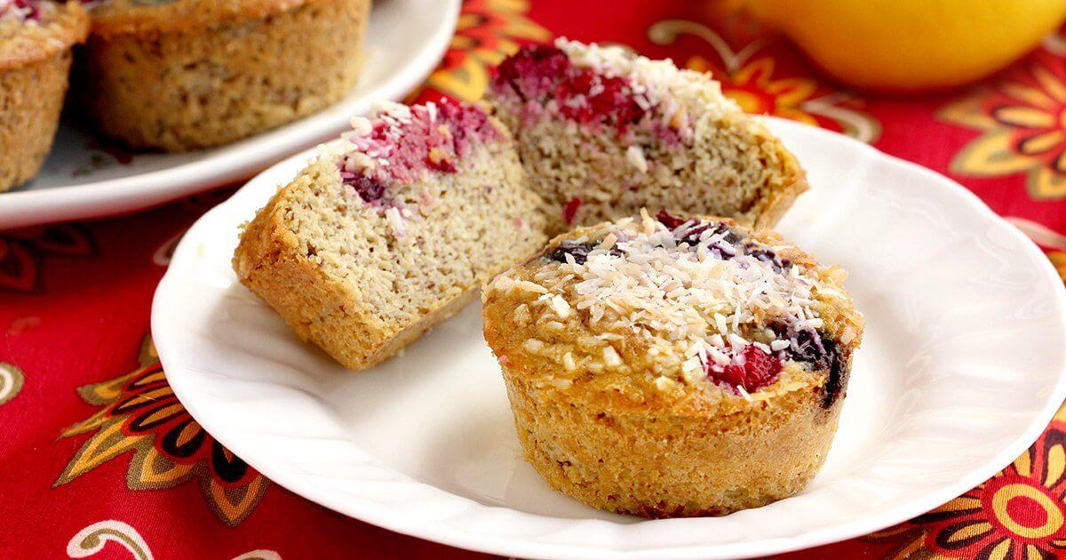 Flourless Lemon Berry Muffins